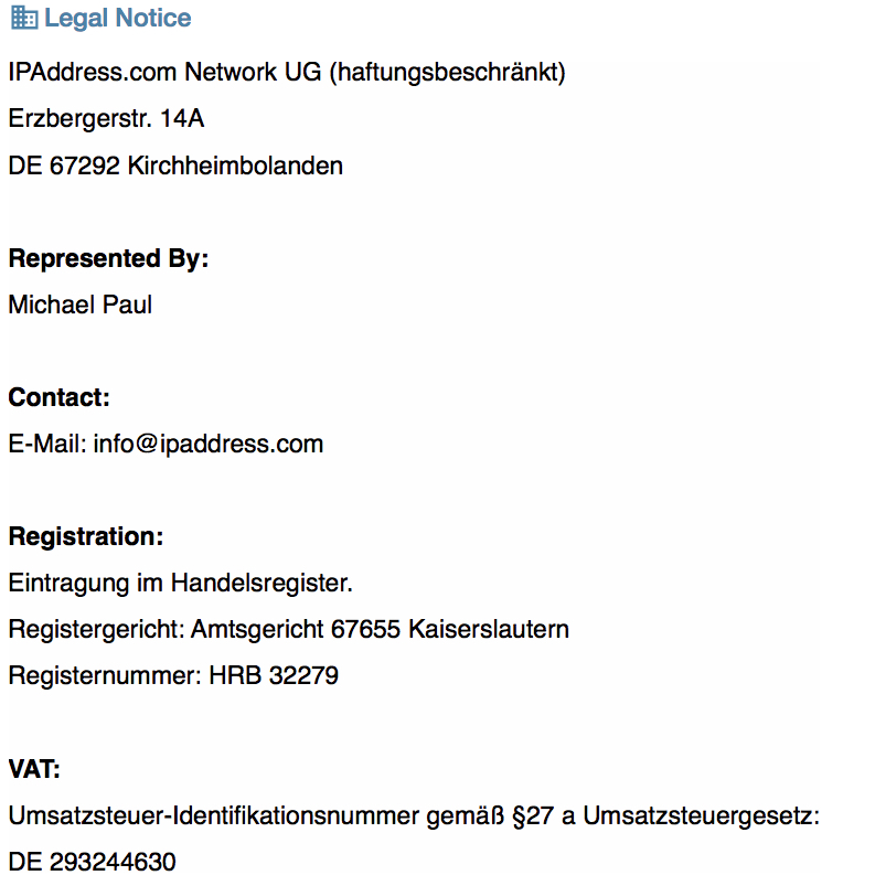 IPAddress.com Network UG Legal Notice
